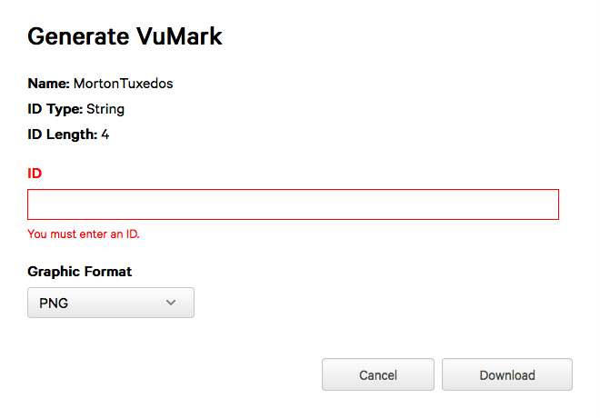 Changing VuMark ID in Unity | Vuforia Developer Portal