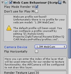 Kinect Camera not Displayed in WebCam Behaviour | Vuforia