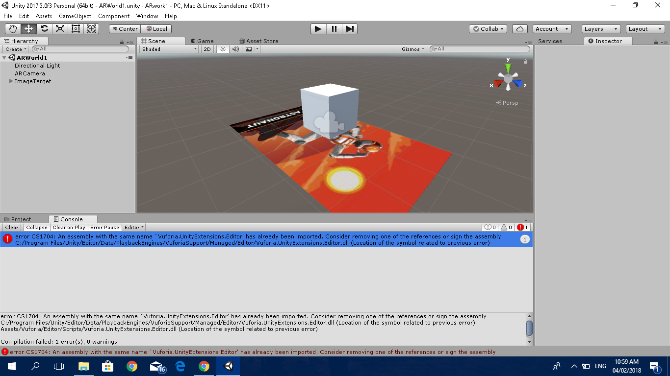 compilation error unity can't enter playmode vuforia unity extension