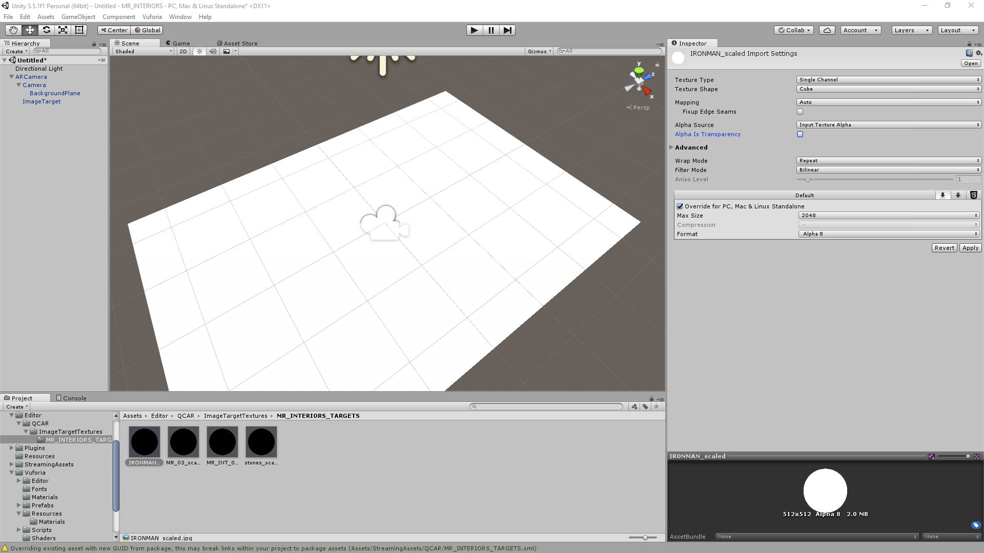 Image Target Textures not showing up in UNITY | Vuforia