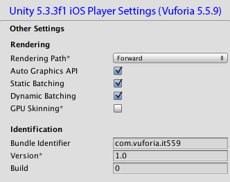 Unity - Player Settings | Vuforia Developer Portal